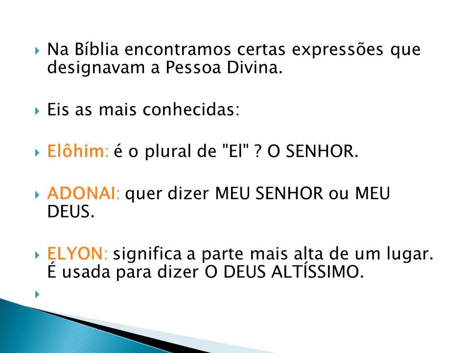 Na Bíblia encontramos certas expressões que designavam a Pessoa Divina. Eis as mais conhecidas: Elôhim: é o plural de