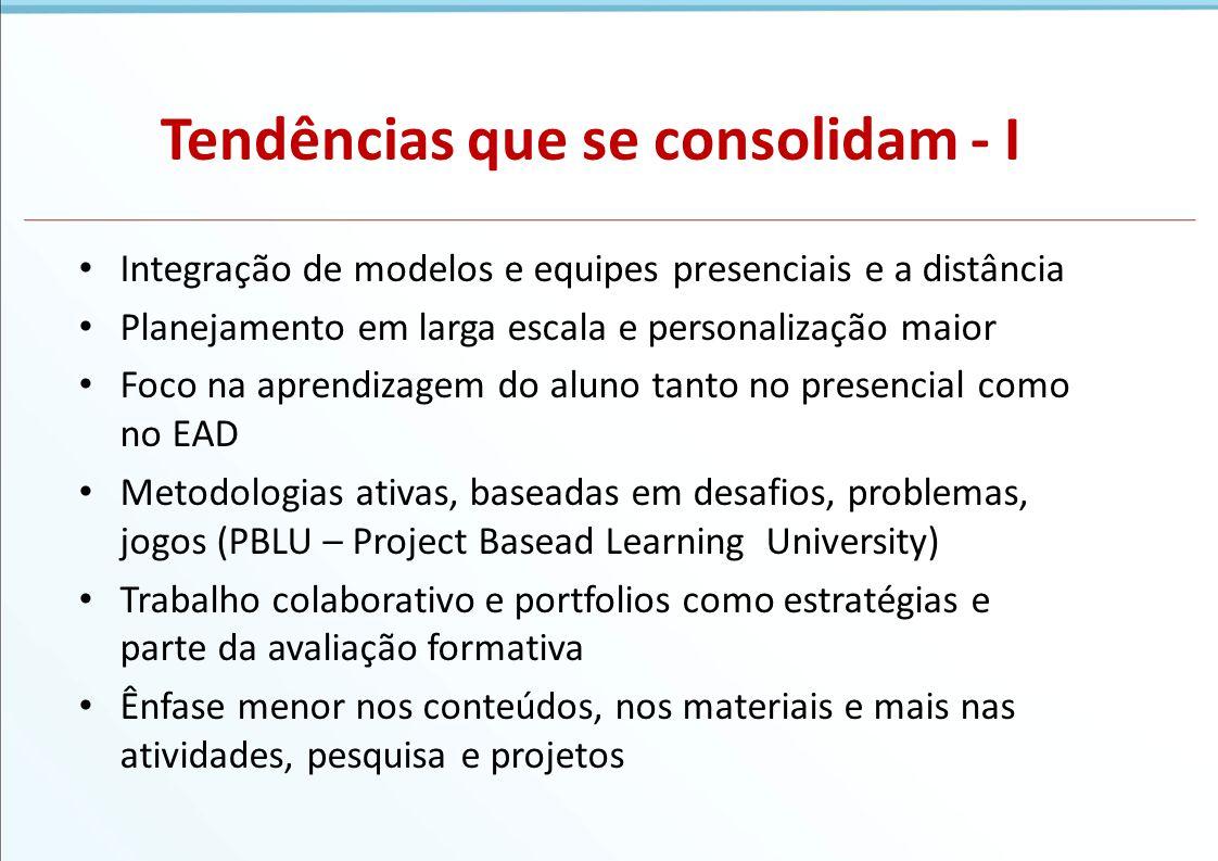 Tendências que se consolidam - I Integração de modelos e equipes presenciais e a distância Planejamento em larga escala e personalização maior Foco na