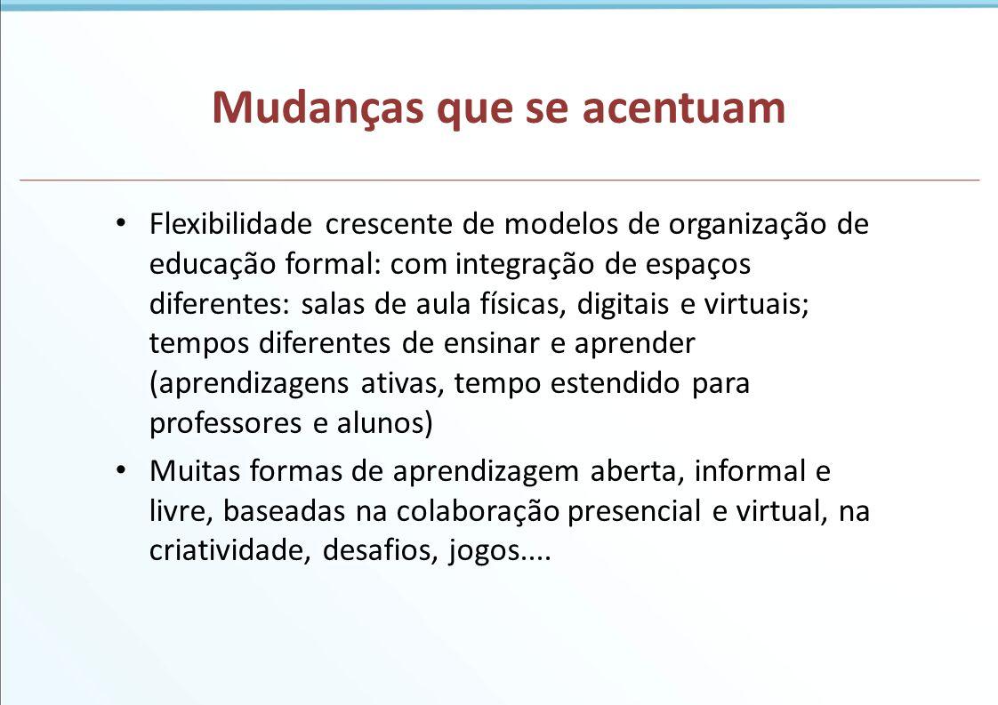 Mudanças que se acentuam Flexibilidade crescente de modelos de organização de educação formal: com integração de espaços diferentes: salas de aula fís