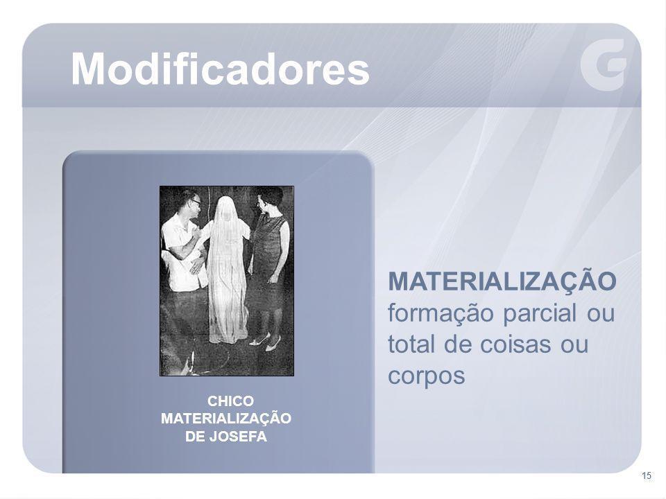 15 MATERIALIZAÇÃO formação parcial ou total de coisas ou corpos Modificadores CHICO MATERIALIZAÇÃO DE JOSEFA