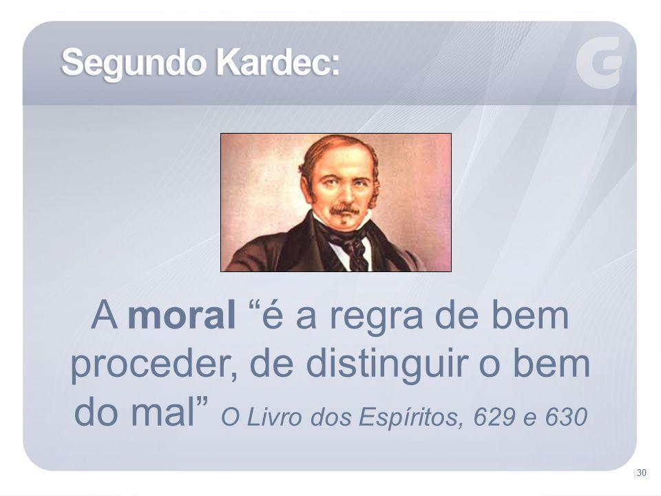 30 A moral é a regra de bem proceder, de distinguir o bem do mal O Livro dos Espíritos, 629 e 630
