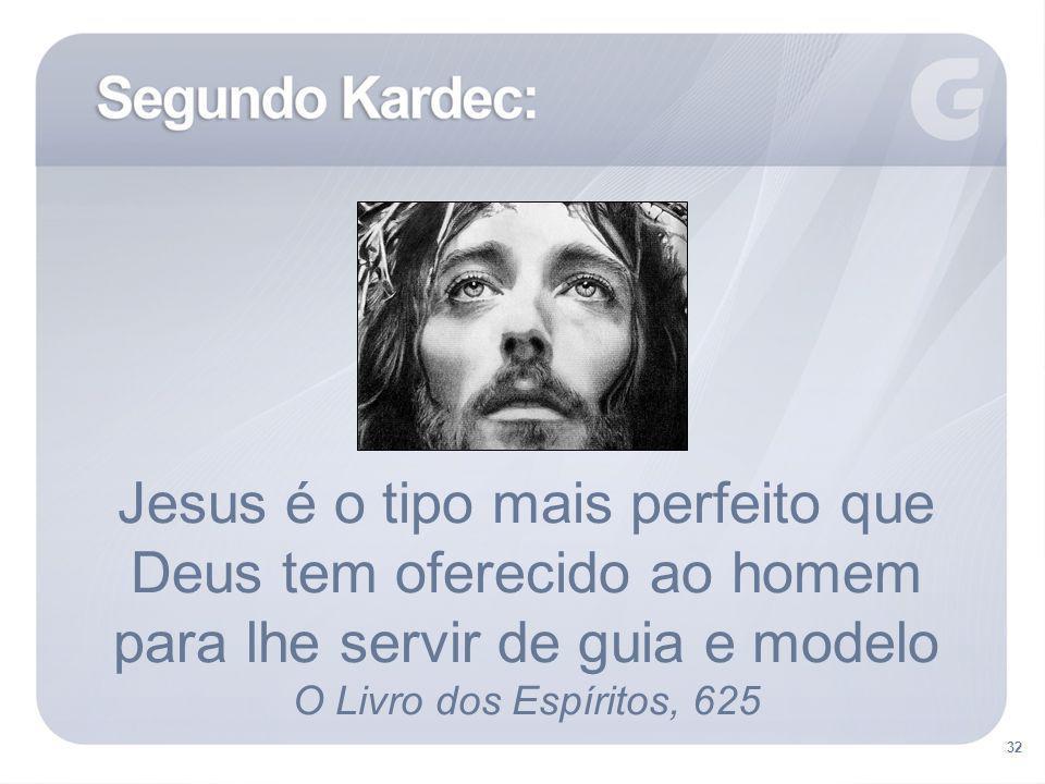 32 Jesus é o tipo mais perfeito que Deus tem oferecido ao homem para lhe servir de guia e modelo O Livro dos Espíritos, 625