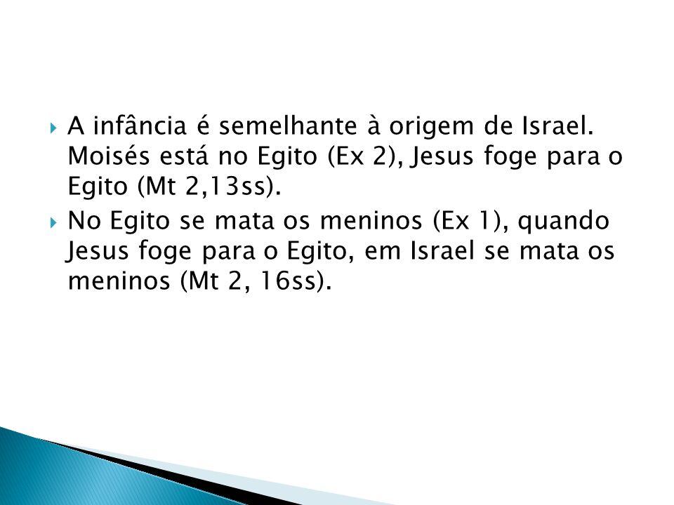 A infância é semelhante à origem de Israel. Moisés está no Egito (Ex 2), Jesus foge para o Egito (Mt 2,13ss). No Egito se mata os meninos (Ex 1), quan