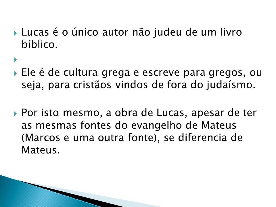 Lucas é o único autor não judeu de um livro bíblico. Ele é de cultura grega e escreve para gregos, ou seja, para cristãos vindos de fora do judaísmo.