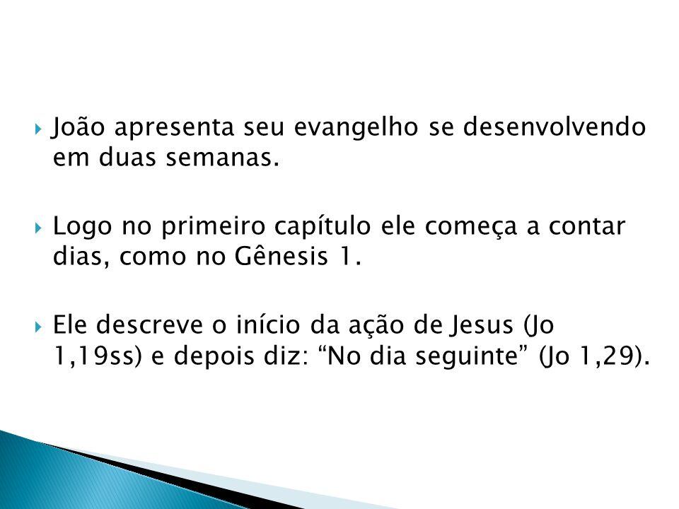 João apresenta seu evangelho se desenvolvendo em duas semanas. Logo no primeiro capítulo ele começa a contar dias, como no Gênesis 1. Ele descreve o i