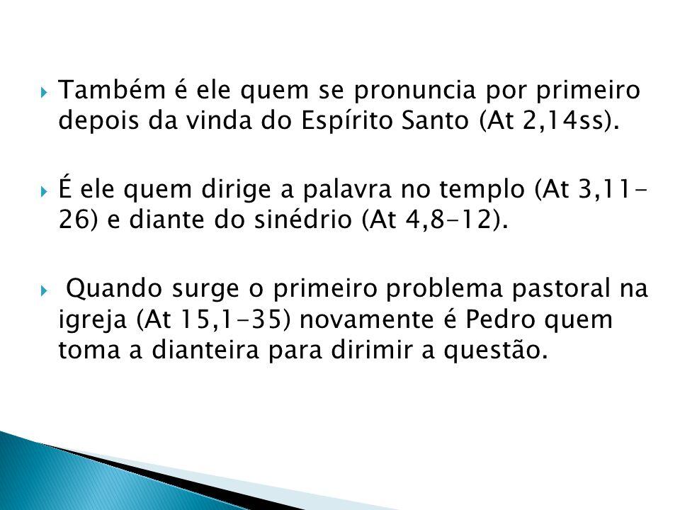 Também é ele quem se pronuncia por primeiro depois da vinda do Espírito Santo (At 2,14ss). É ele quem dirige a palavra no templo (At 3,11- 26) e diant