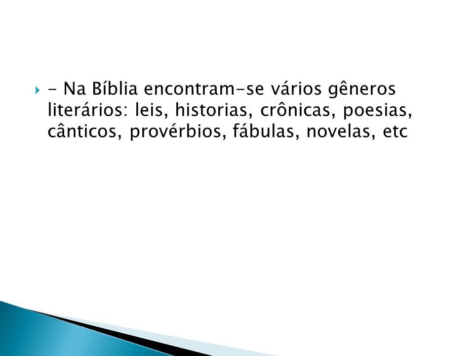 - Na Bíblia encontram-se vários gêneros literários: leis, historias, crônicas, poesias, cânticos, provérbios, fábulas, novelas, etc