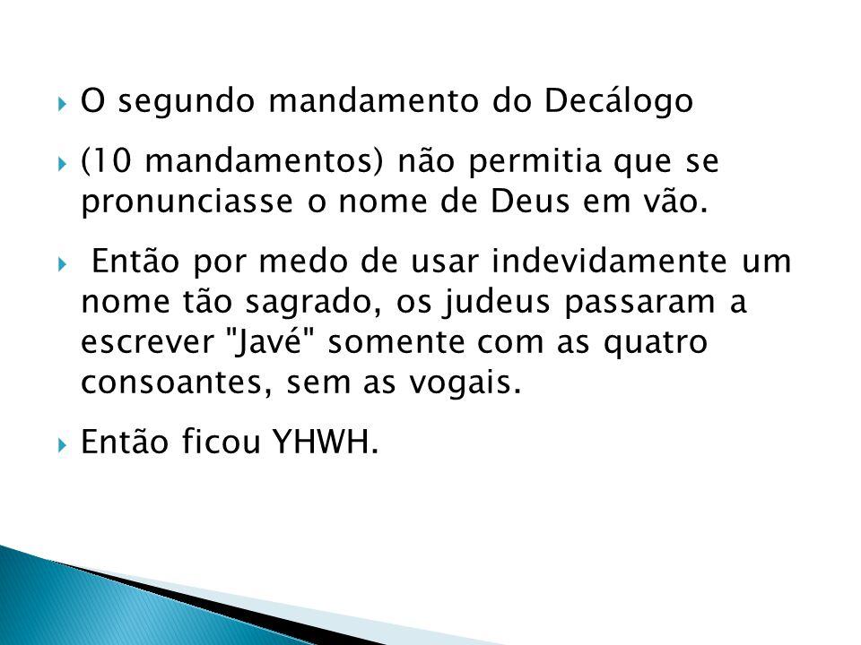 O segundo mandamento do Decálogo (10 mandamentos) não permitia que se pronunciasse o nome de Deus em vão. Então por medo de usar indevidamente um nome