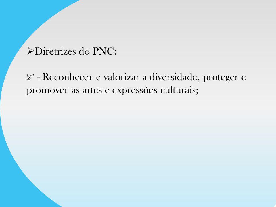 Diretrizes do PNC: 3º - Universalizar o acesso dos brasileiros à arte e à cultura, qualificar ambientes e equipamentos culturais e permitir aos criadores o acesso às condições e meios de produção cultural.