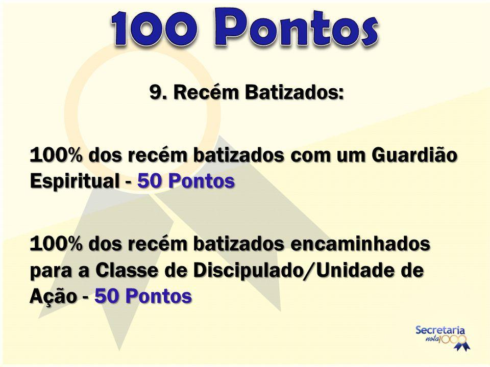 9. Recém Batizados: 100% dos recém batizados com um Guardião Espiritual - 50 Pontos 100% dos recém batizados encaminhados para a Classe de Discipulado