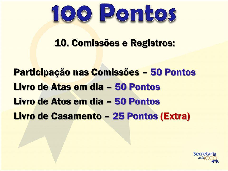 10. Comissões e Registros: Participação nas Comissões – 50 Pontos Livro de Atas em dia – 50 Pontos Livro de Atos em dia – 50 Pontos Livro de Casamento