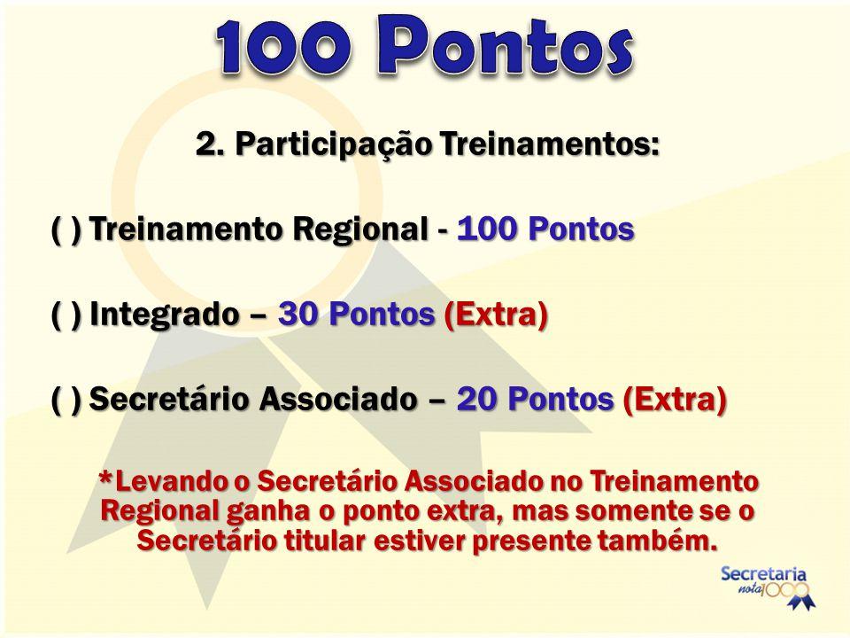 2. Participação Treinamentos: ( ) Treinamento Regional - 100 Pontos ( ) Integrado – 30 Pontos (Extra) ( ) Secretário Associado – 20 Pontos (Extra) *Le