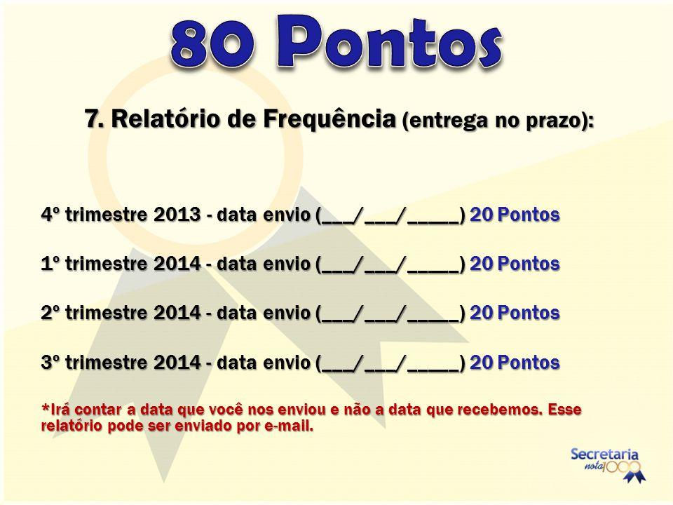 7. Relatório de Frequência (entrega no prazo): 4º trimestre 2013 - data envio (___/___/_____) 20 Pontos 1º trimestre 2014 - data envio (___/___/_____)