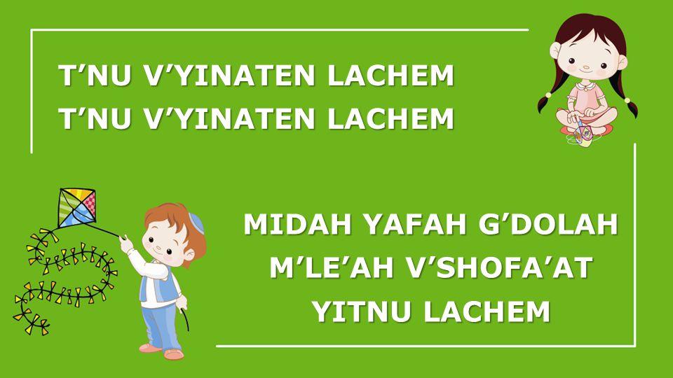 TNU VYINATEN LACHEM MIDAH YAFAH GDOLAH MLEAH VSHOFAAT YITNU LACHEM