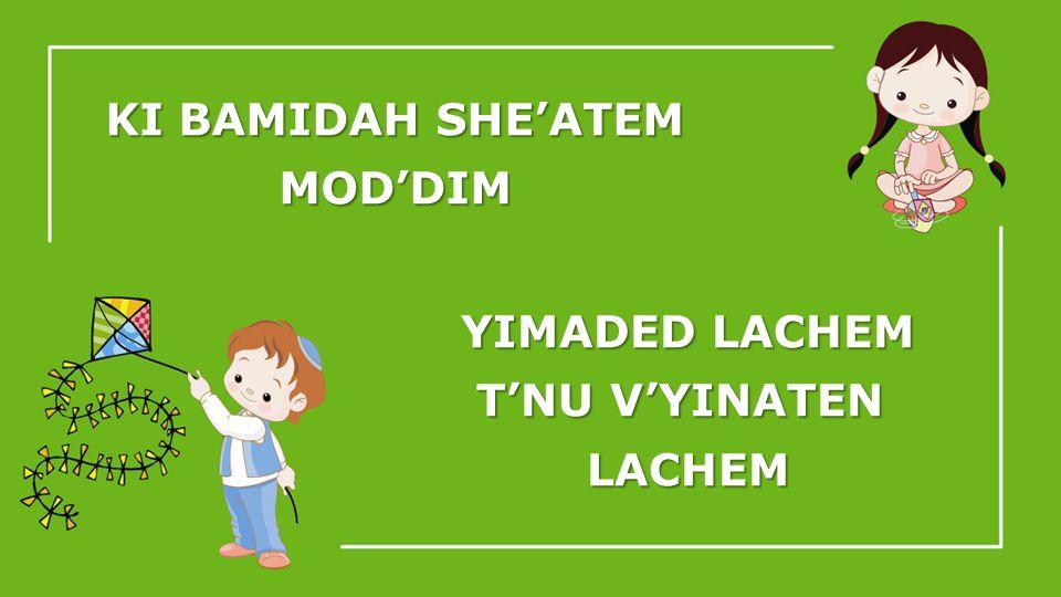 KI BAMIDAH SHEATEM MODDIM YIMADED LACHEM TNU VYINATEN LACHEM