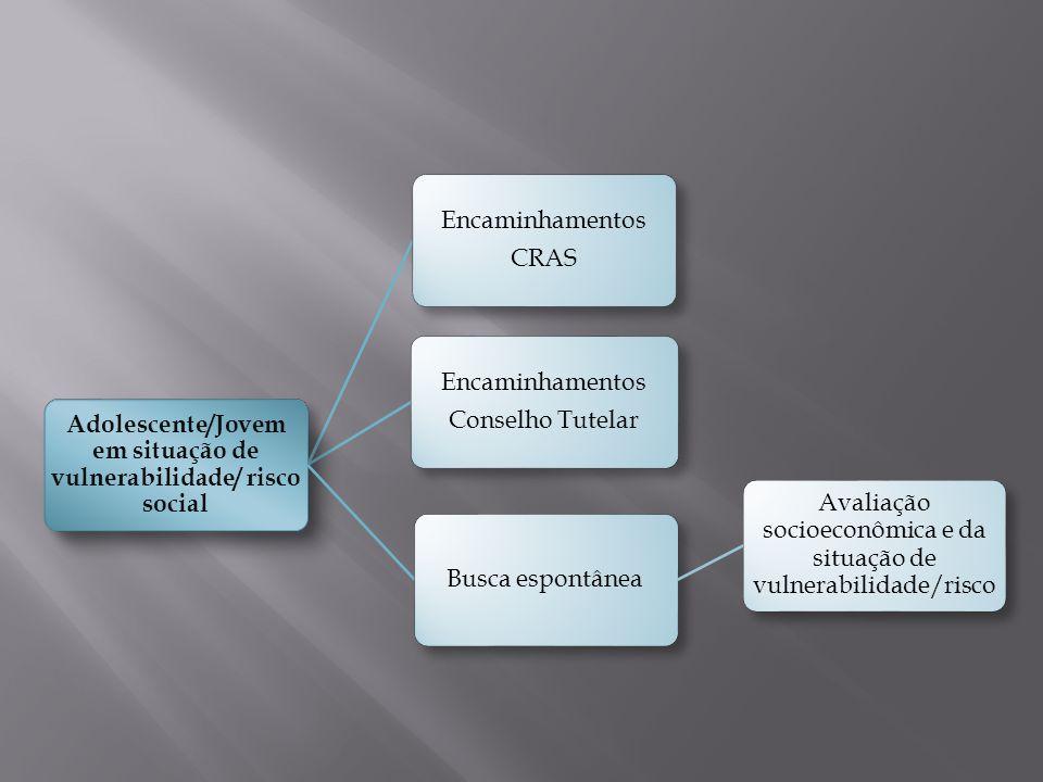 Encaminhamentos CRAS Encaminhamentos Conselho Tutelar Adolescente/Jovem em situação de vulnerabilidade/ risco social Busca espontânea Avaliação socioe
