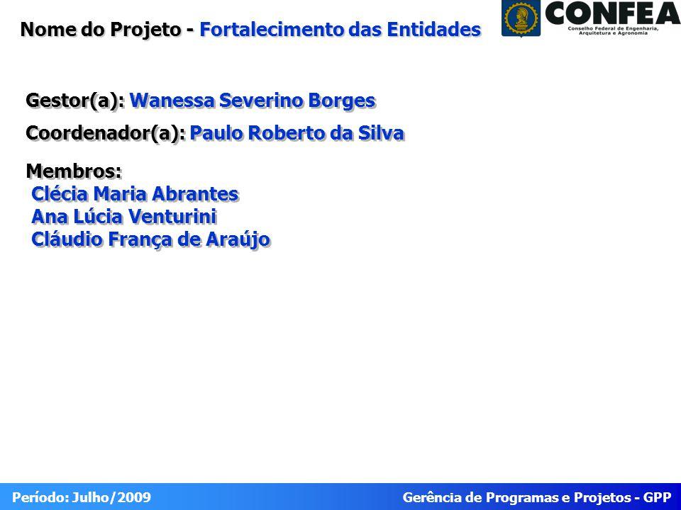 Gerência de Programas e Projetos - GPP Período: Julho/2009 Portfólio 2009 Fortalecimento