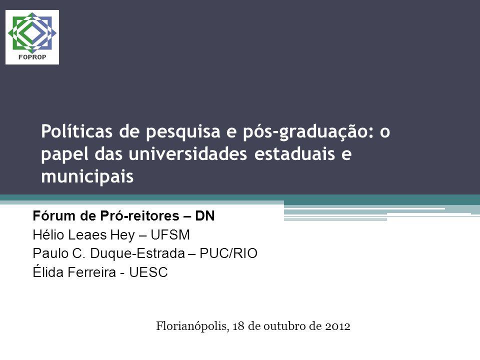 Políticas de pesquisa e pós-graduação: o papel das universidades estaduais e municipais Fórum de Pró-reitores – DN Hélio Leaes Hey – UFSM Paulo C.