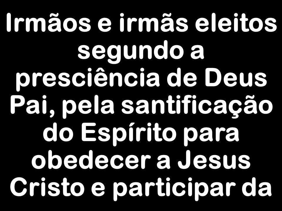 Irmãos e irmãs eleitos segundo a presciência de Deus Pai, pela santificação do Espírito para obedecer a Jesus Cristo e participar da