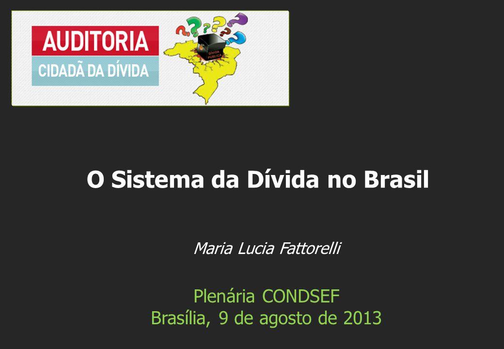 Maria Lucia Fattorelli Plenária CONDSEF Brasília, 9 de agosto de 2013 O Sistema da Dívida no Brasil