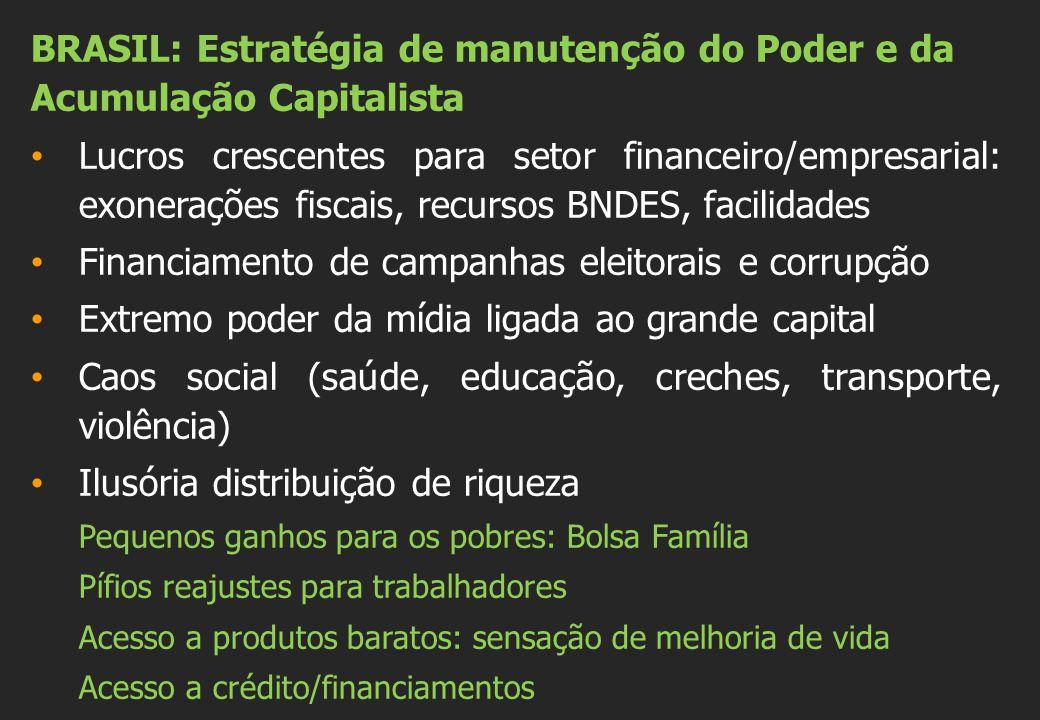 BRASIL: Estratégia de manutenção do Poder e da Acumulação Capitalista Lucros crescentes para setor financeiro/empresarial: exonerações fiscais, recurs