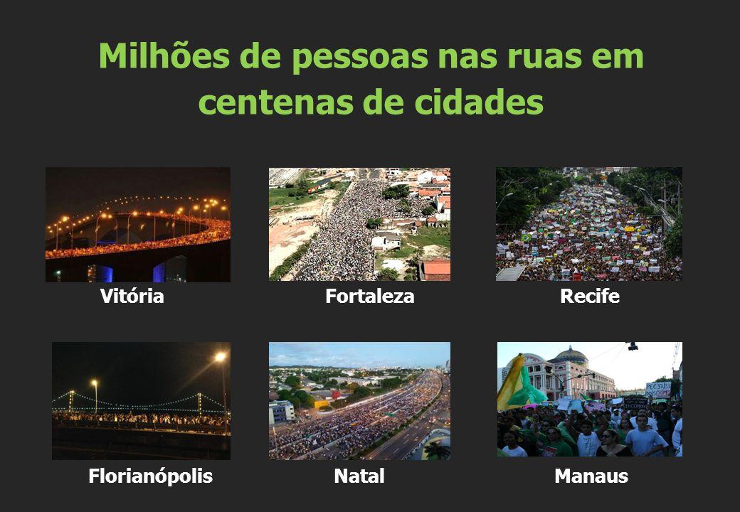 Vitória Fortaleza Recife Florianópolis Natal Manaus Milhões de pessoas nas ruas em centenas de cidades