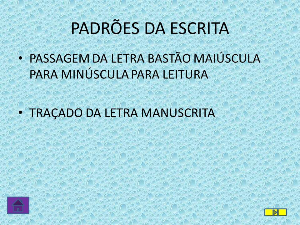 PASSAGEM DA LETRA BASTÃO MAIÚSCULA PARA MINÚSCULA PARA LEITURA TRAÇADO DA LETRA MANUSCRITA PADRÕES DA ESCRITA