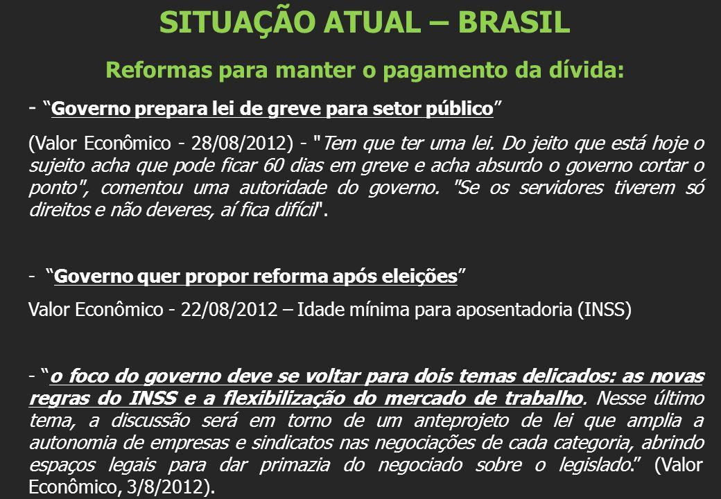 SITUAÇÃO ATUAL – BRASIL Reformas para manter o pagamento da dívida: -Governo prepara lei de greve para setor público (Valor Econômico - 28/08/2012) -