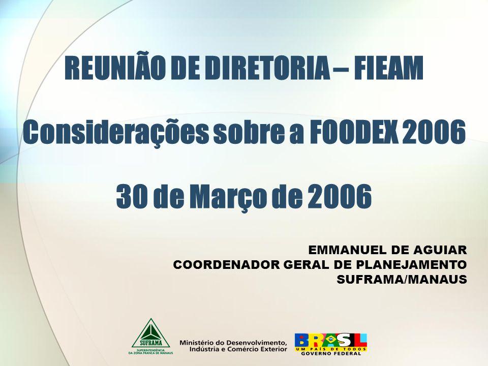REUNIÃO DE DIRETORIA – FIEAM Considerações sobre a FOODEX 2006 30 de Março de 2006 EMMANUEL DE AGUIAR COORDENADOR GERAL DE PLANEJAMENTO SUFRAMA/MANAUS