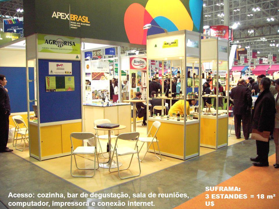 SUFRAMA: 3 ESTANDES = 18 m² U$ Acesso: cozinha, bar de degustação, sala de reuniões, computador, impressora e conexão internet.