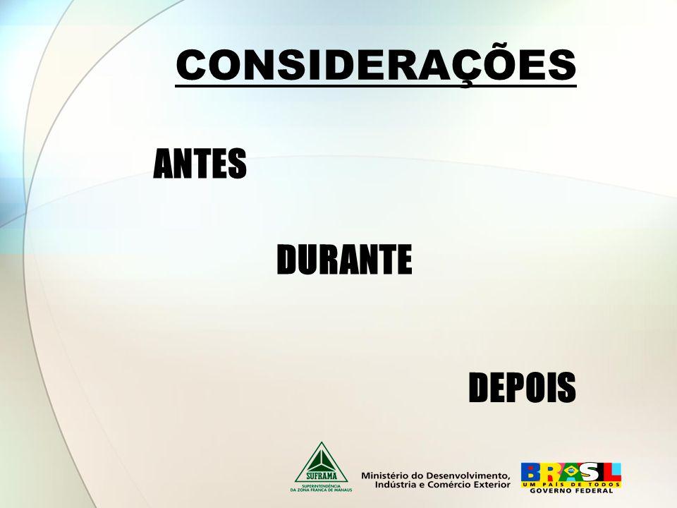 CONSIDERAÇÕES ANTES DURANTE DEPOIS
