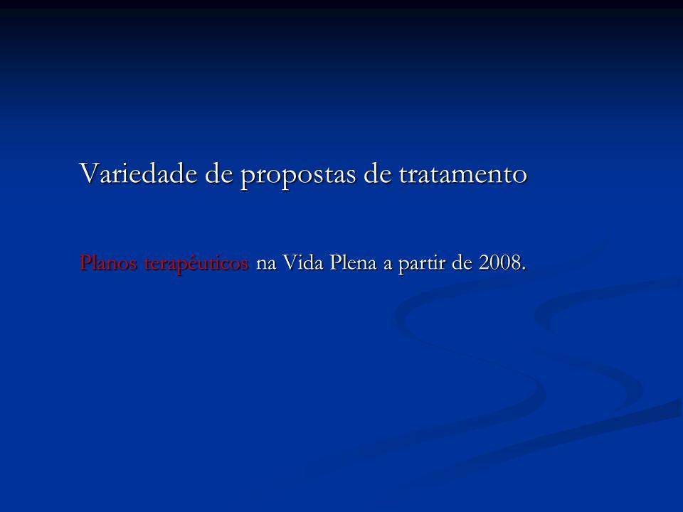 Variedade de propostas de tratamento Variedade de propostas de tratamento Planos terapêuticos na Vida Plena a partir de 2008. Planos terapêuticos na V