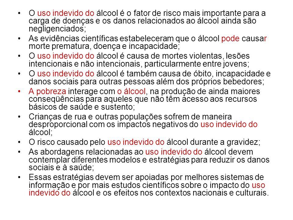 O uso indevido do álcool é o fator de risco mais importante para a carga de doenças e os danos relacionados ao álcool ainda são negligenciados; As evi