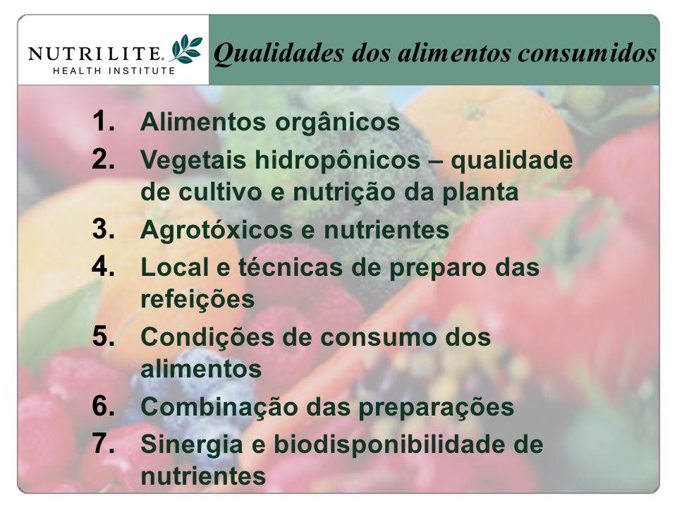 Qualidades dos alimentos consumidos 1.Alimentos orgânicos 2.