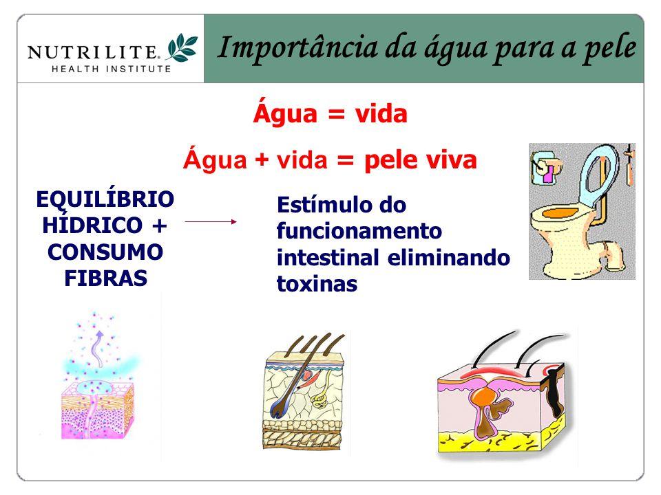 EQUILÍBRIO HÍDRICO + CONSUMO FIBRAS Estímulo do funcionamento intestinal eliminando toxinas Importância da água para a pele Água = vida Água + vida = pele viva