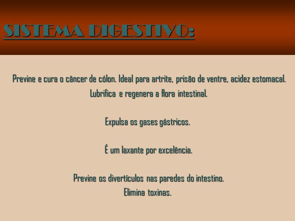 SISTEMA DIGESTIVO: Previne e cura o câncer de cólon.