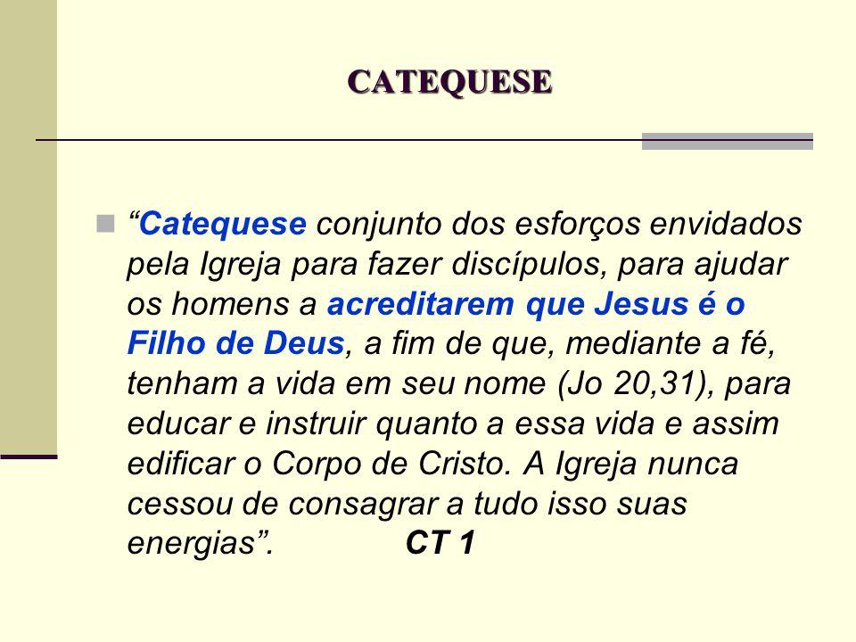 CATEQUESE Catequese conjunto dos esforços envidados pela Igreja para fazer discípulos, para ajudar os homens a acreditarem que Jesus é o Filho de Deus