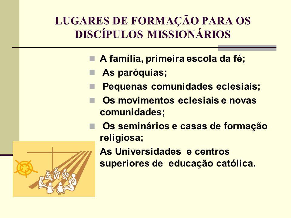 LUGARES DE FORMAÇÃO PARA OS DISCÍPULOS MISSIONÁRIOS A família, primeira escola da fé; As paróquias; Pequenas comunidades eclesiais; Os movimentos ecle