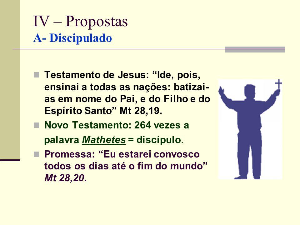 IV – Propostas A- Discipulado Testamento de Jesus: Ide, pois, ensinai a todas as nações: batizai- as em nome do Pai, e do Filho e do Espírito Santo Mt