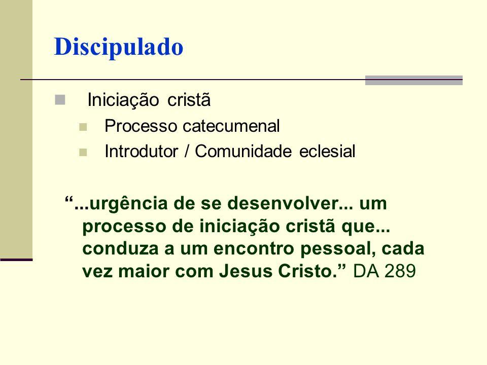 Discipulado Iniciação cristã Processo catecumenal Introdutor / Comunidade eclesial...urgência de se desenvolver... um processo de iniciação cristã que