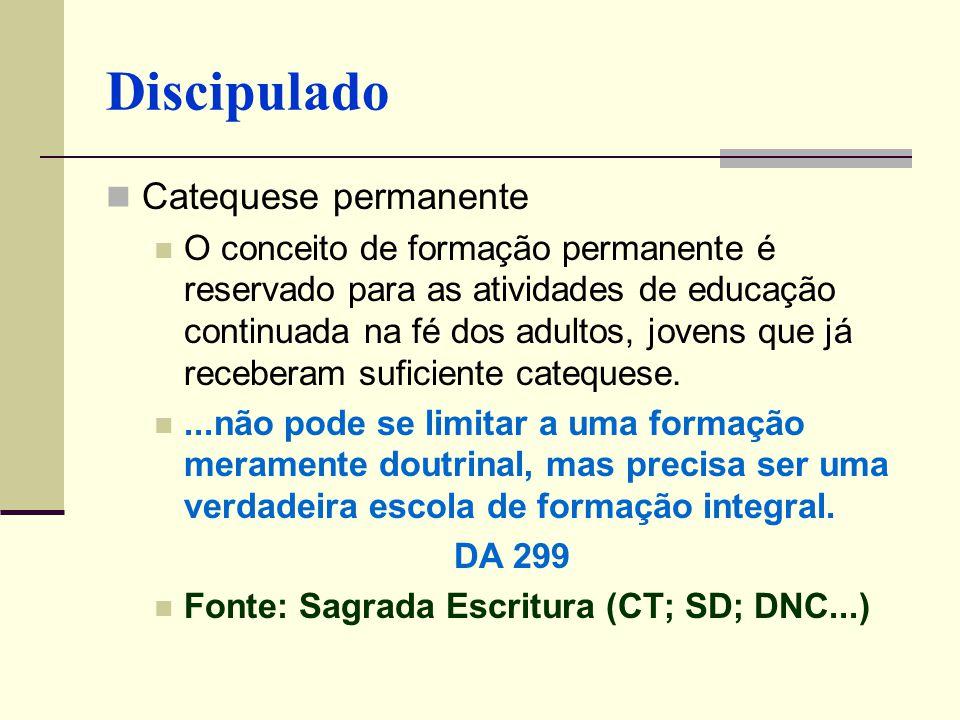 Catequese permanente O conceito de formação permanente é reservado para as atividades de educação continuada na fé dos adultos, jovens que já recebera