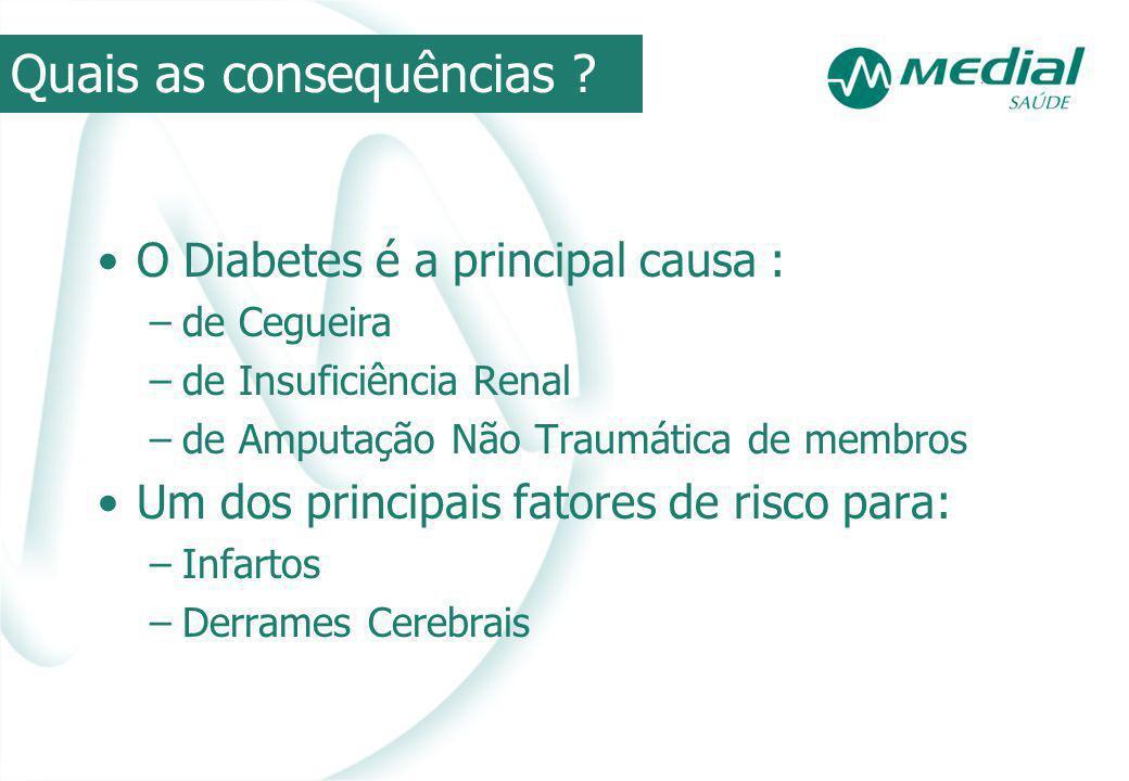 O Diabetes é a principal causa : –de Cegueira –de Insuficiência Renal –de Amputação Não Traumática de membros Um dos principais fatores de risco para: