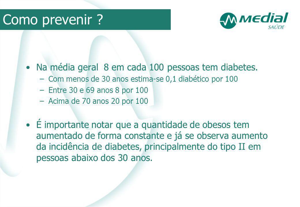 Na média geral 8 em cada 100 pessoas tem diabetes. –Com menos de 30 anos estima-se 0,1 diabético por 100 –Entre 30 e 69 anos 8 por 100 –Acima de 70 an