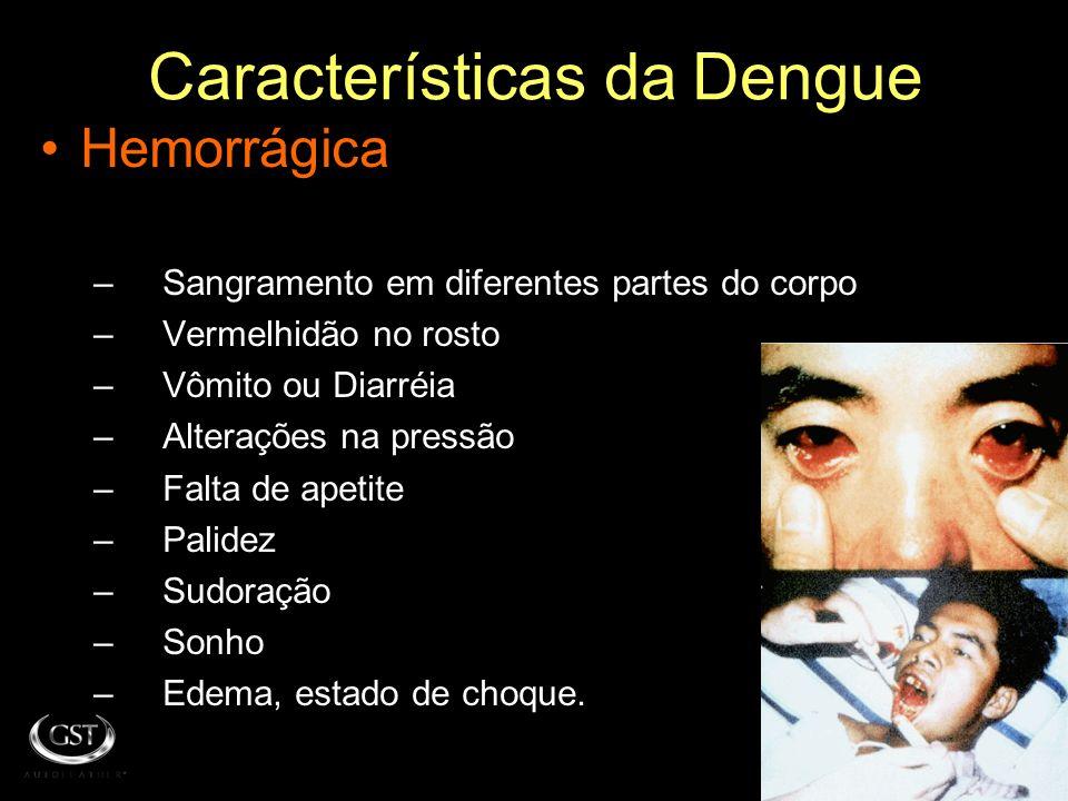 Características da Dengue Clásico –F–Febre alta repentina –D–Dor intensa de: Músculos Articulações Ossos Cabeça Olhos