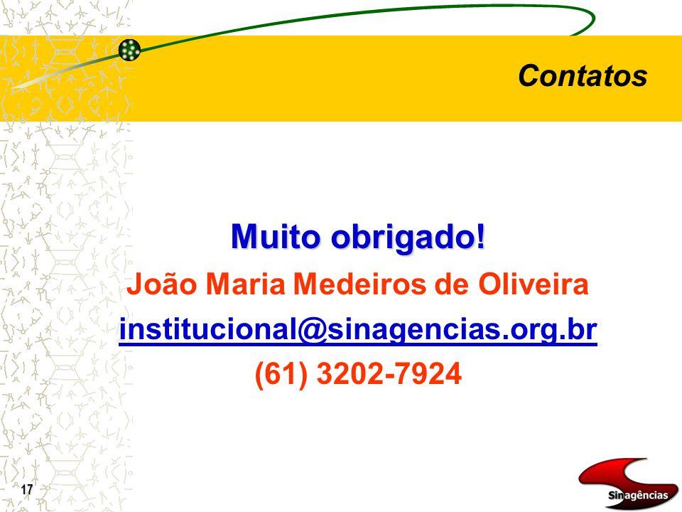 17 Muito obrigado! João Maria Medeiros de Oliveira institucional@sinagencias.org.br (61) 3202-7924 Contatos