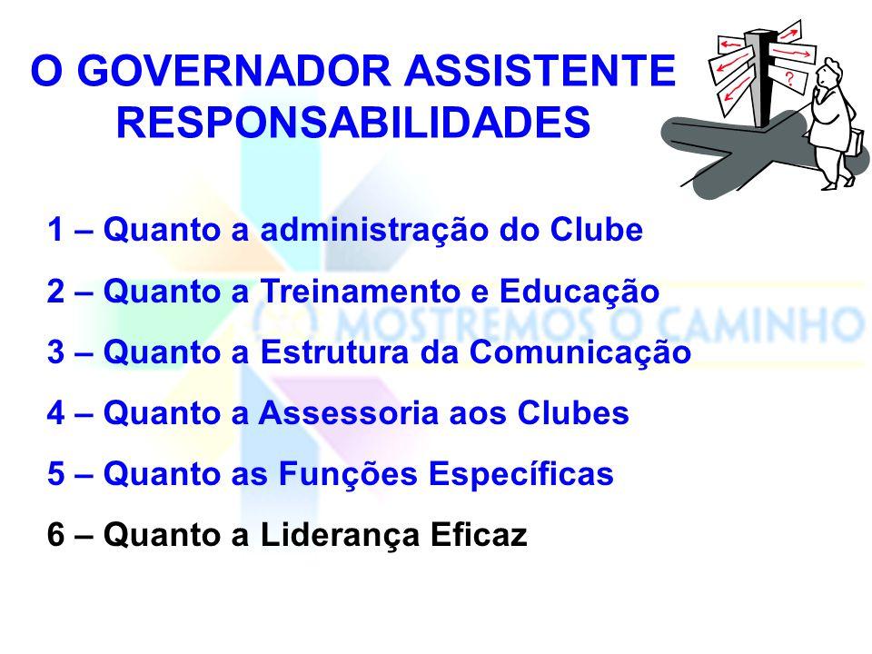 Como governador assistente, sua principal responsabilidade é dar assistência ao governador do distrito com relação a aspectos administrativos dos clube de sua área.