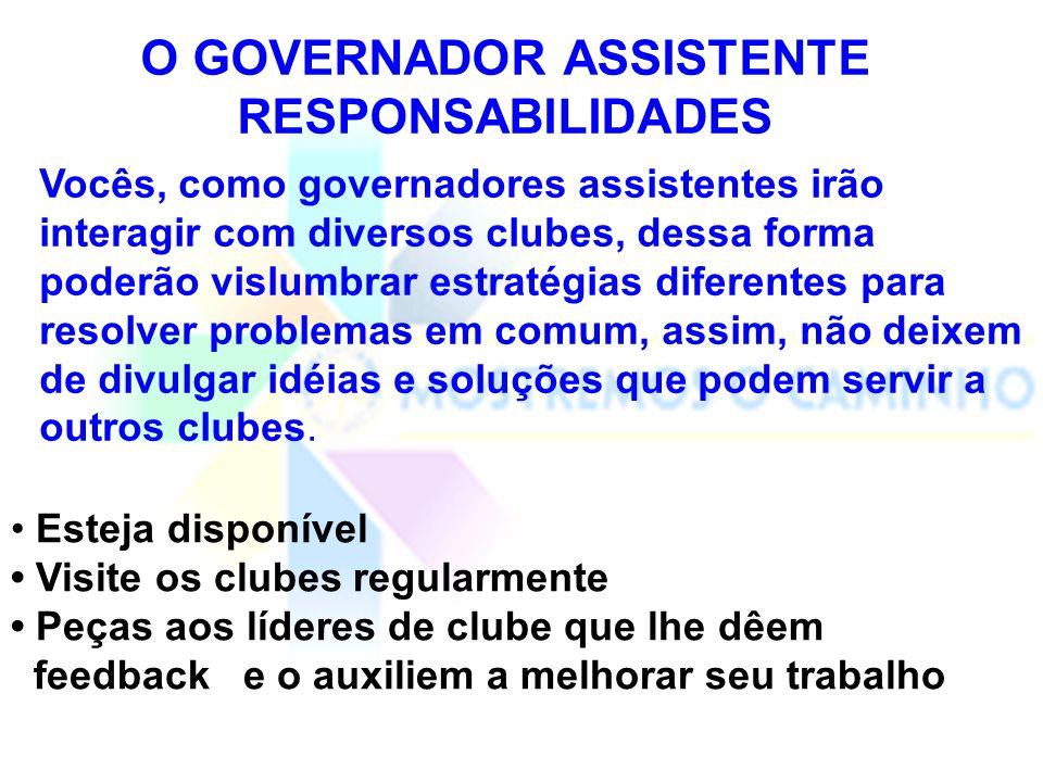 O GOVERNADOR ASSISTENTE RESPONSABILIDADES Visite cada clube preferencialmente uma vez por mês, ou no mínimo uma vez a cada três meses.
