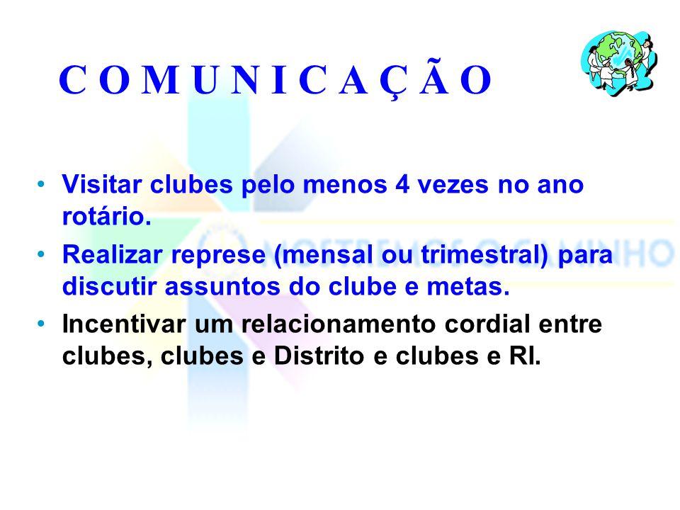 C O M U N I C A Ç Ã O Informar o Governador e outros líderes distritais sobre os programas e progressos dos clubes.