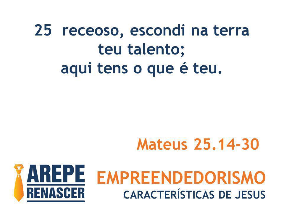 EMPREENDEDORISMO CARACTERÍSTICAS DE JESUS 25 receoso, escondi na terra teu talento; aqui tens o que é teu. Mateus 25.14-30