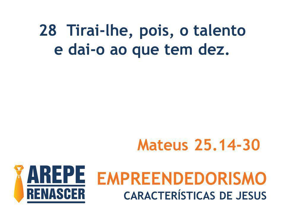 EMPREENDEDORISMO CARACTERÍSTICAS DE JESUS 28 Tirai-lhe, pois, o talento e dai-o ao que tem dez. Mateus 25.14-30
